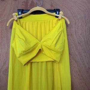 Golden Yellow 2-Piece Bra + Double Slit Skirt Set